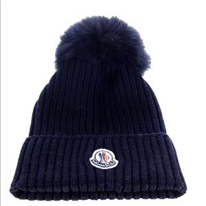 Moncler Ribbed Wool Fur Pom Pom Beanie Hat